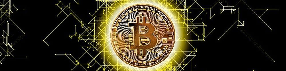 Blockchain image with a bitcoin at the center