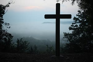 cross in a forest at dawn