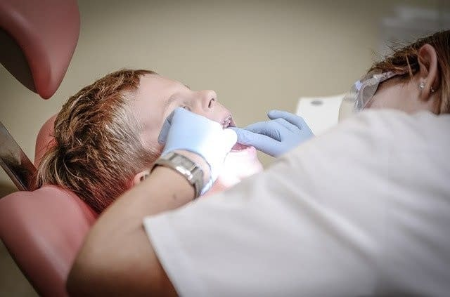 Young boy having a dental exam