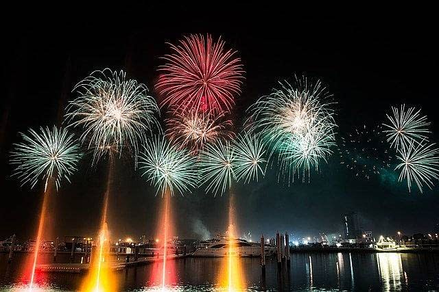 Dubai boat fireworks display