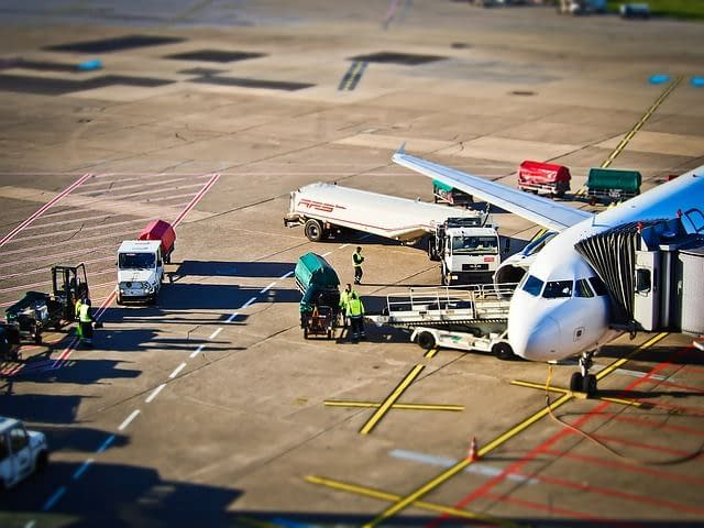Cargo being unloaded from a plane