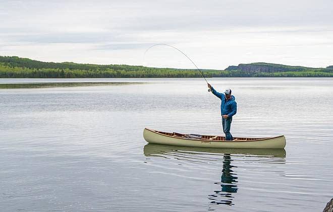 Canoe fishing in Northern Minnesota