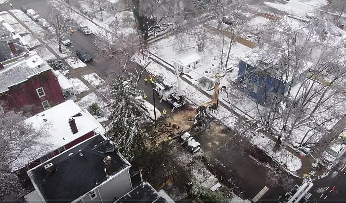 Severe Ice damage to Power Lines in Virginia