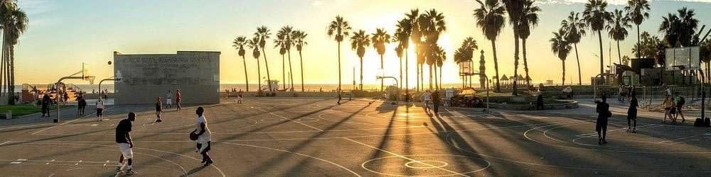 Basketball court at sunset