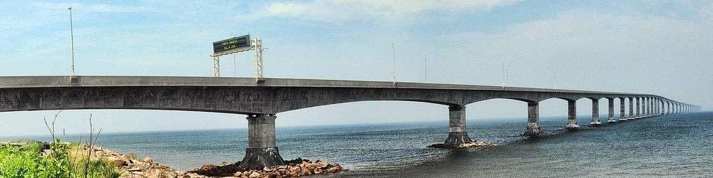 View of the Confederation Bridge in Prince Edward Island Canada