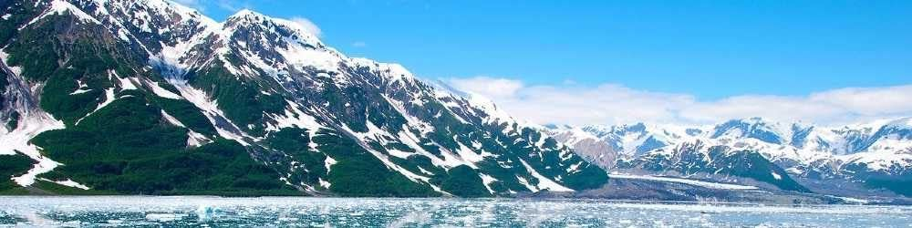 Alaska hills and ice in the water