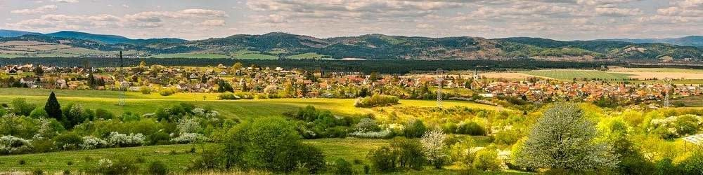 Slovakia countryside and town view